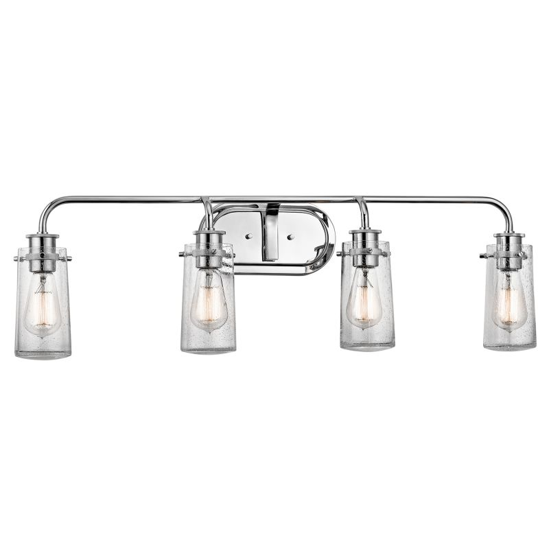 Kichler 45460ch Chrome Braelyn 4 Light 34 Wide Vanity Light Bathroom Fixture With Seedy Glass