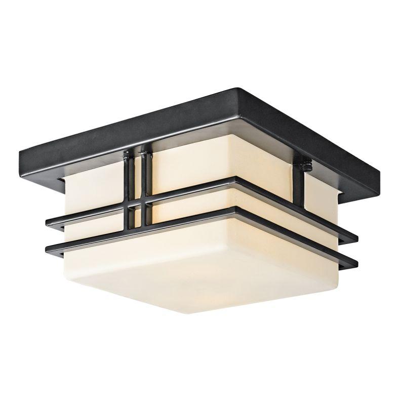 Kichler 49206BK Black (Painted) Tremillo 2 Light 12u0026quot; Wide Flush Mount Outdoor Ceiling Fixture ...