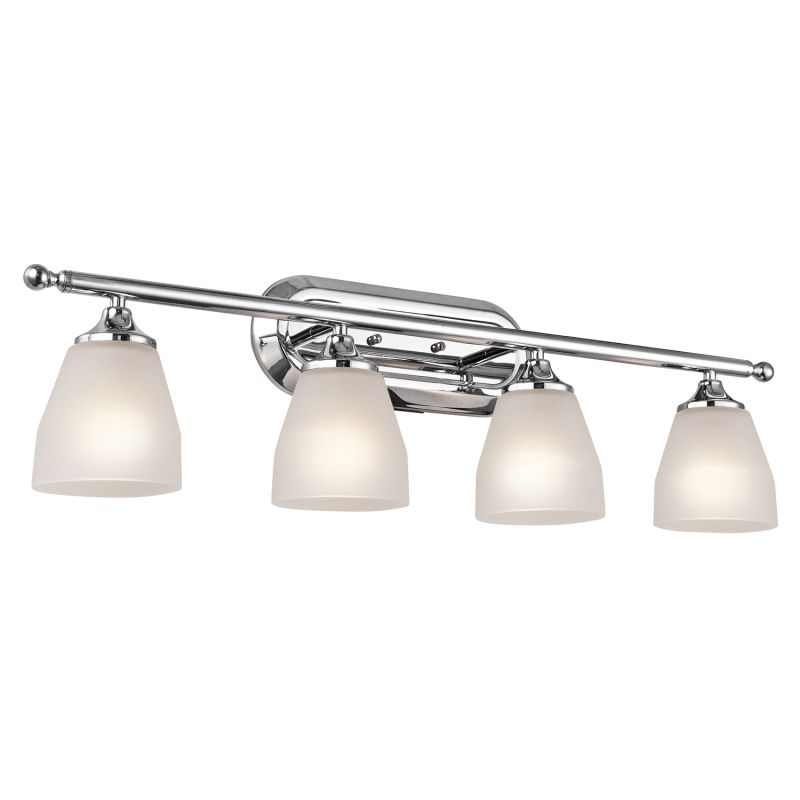 Kichler 5449ch Chrome Ansonia 4 Light 31 Wide Vanity Light Bathroom Fixture With Etched Glass