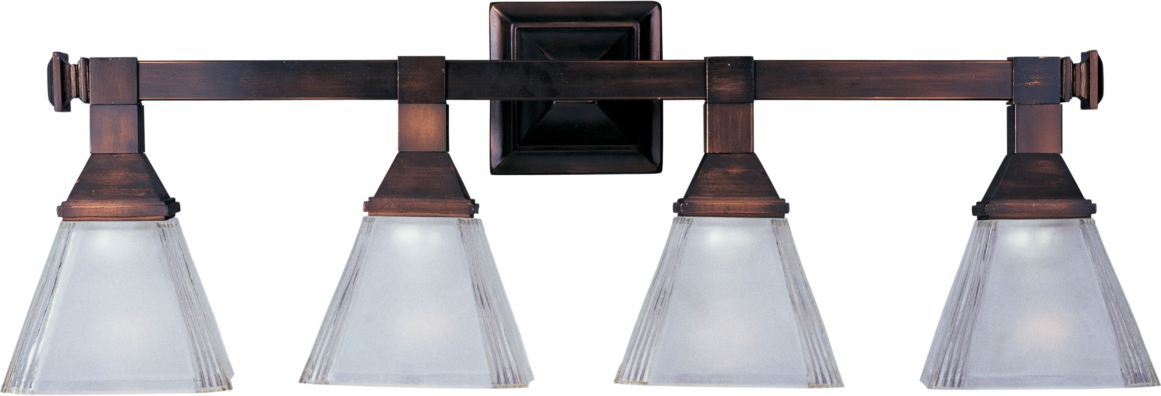 New 4 Light Bathroom Vanity Lighting Fixture Bronze: Maxim 11079FTOI Oil Rubbed Bronze / Frosted Glass 4 Light
