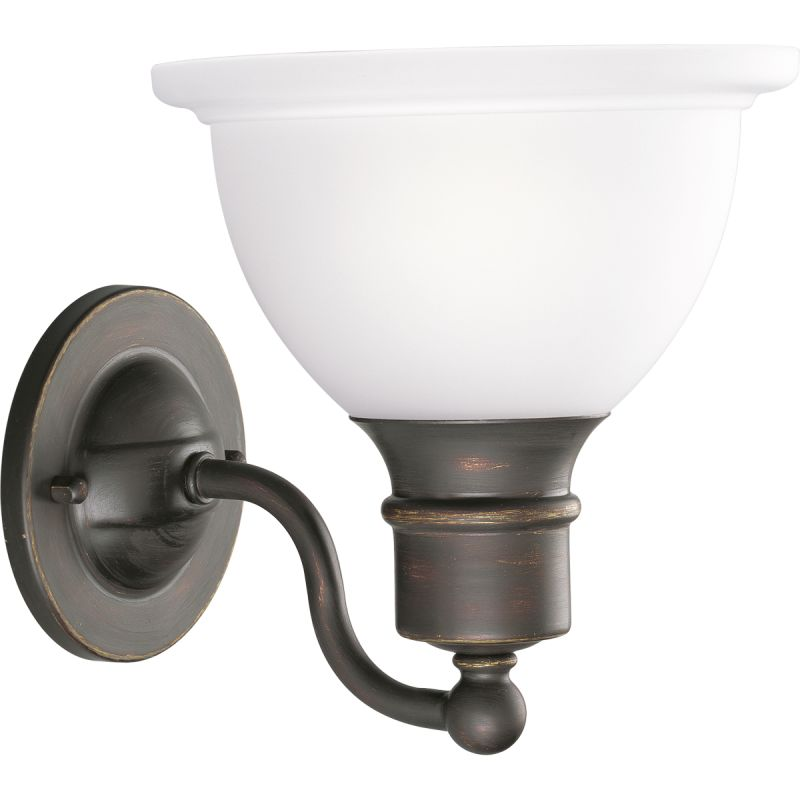 Progress Lighting P3161-20 Antique Bronze Madison 1 Light Bathroom Wall Sconce with Etched Glass ...