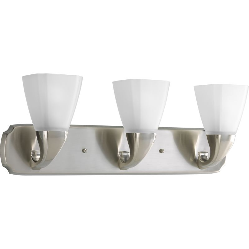 Bathroom Vanity Light Glass Shades : Progress Lighting P2848-09 Brushed Nickel Addison 3 Light Bathroom Vanity Light with Etched ...