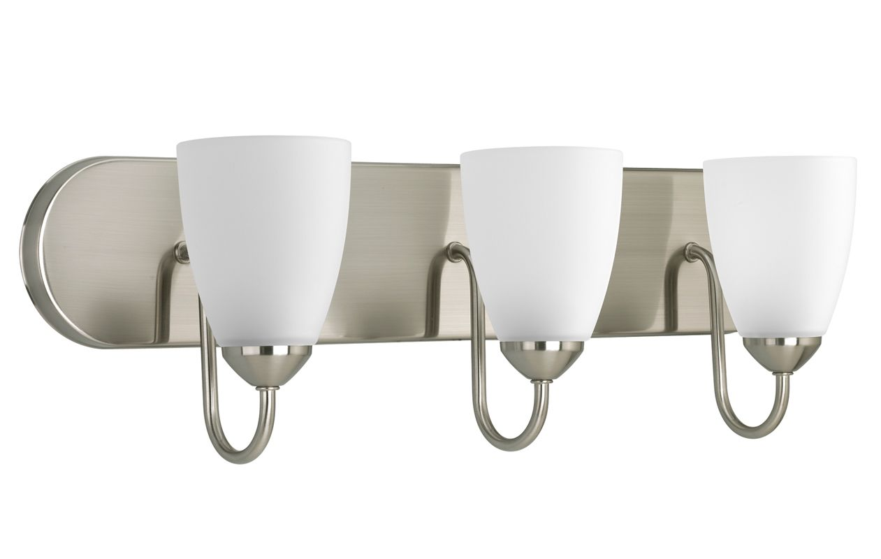 Progress Lighting P2708-09 Brushed Nickel Gather 3 Light Bathroom Vanity Light with Etched Glass ...