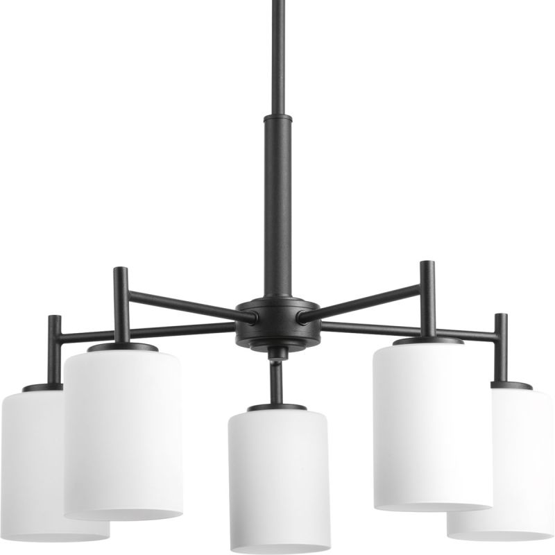 Progress lighting p4319 31 black replay chandelier with 5 for Progressive lighting