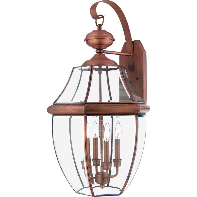 "Quoizel Outdoor Lighting Newbury: Quoizel NY8339AC Aged Copper Newbury 4 Light 29"" Tall"