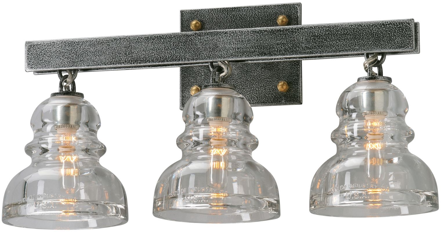 Troy Lighting B3953 Old Silver Menlo Park 3 Light Bathroom Vanity Light With Glass Insulator