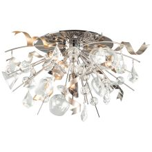 Party All Night 4 Light Semi-Flush Mount Ceiling Fixture with Hand-Crafted Iron Frame and Clear Crystal Accents