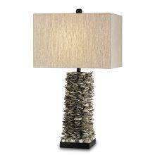 Villamare 1 Light Shell Table Lamp with Natural Linen Shade