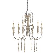 6 Light Wrought Iron Small Hannah Chandelier with Customizable Shades