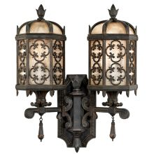 Costa del Sol Two-Light Outdoor Wall Sconce with Quatrefoil Details and Subtle Iridescent Textured Glass Shade