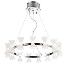 Kim 15 Light 1 Tier Chandelier with Frosted Shades