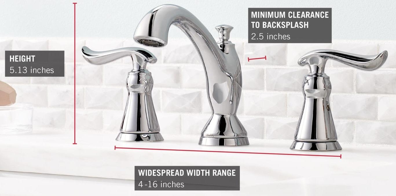 Delta 3594 mpu dst 8 inch linden 2 handle high arc bathroom faucet in - Delta 3594 Mpu Dst Dimensions