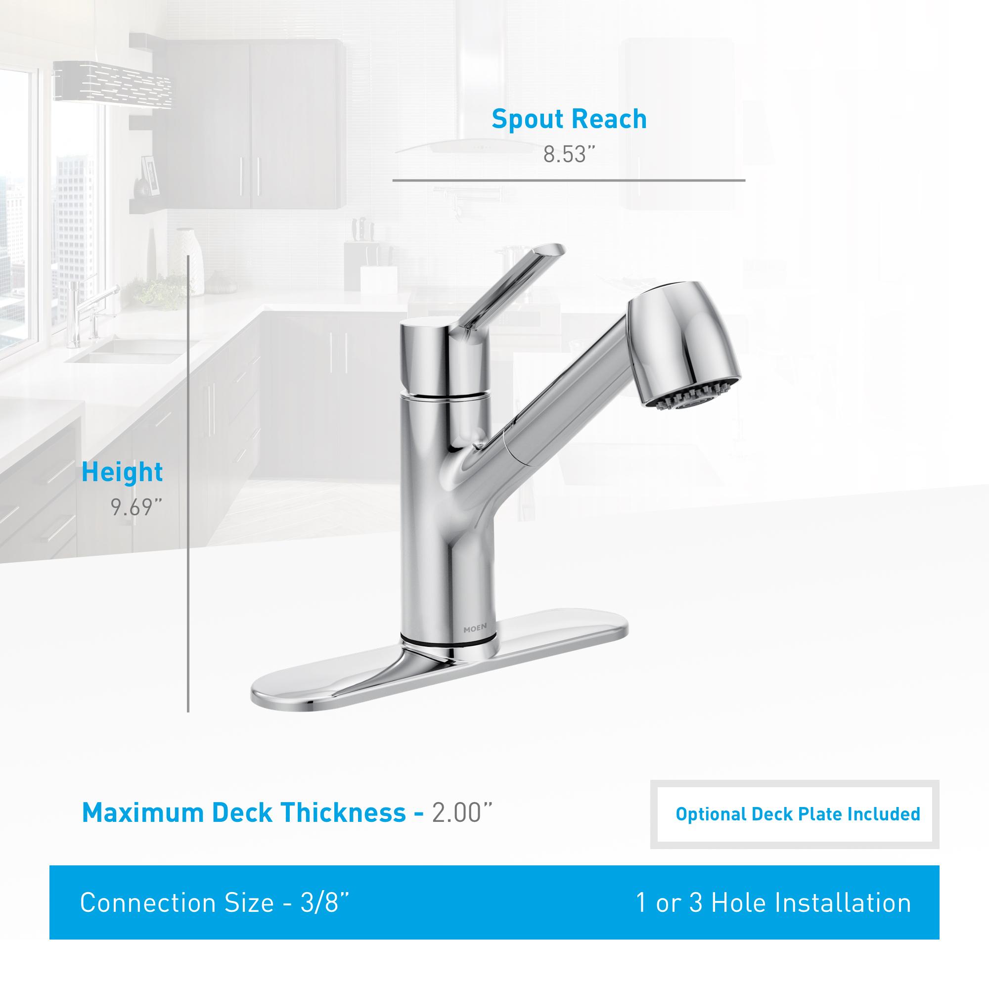 Moen 7585c Chrome Method Single Handle Pullout Spray Kitchen Faucet