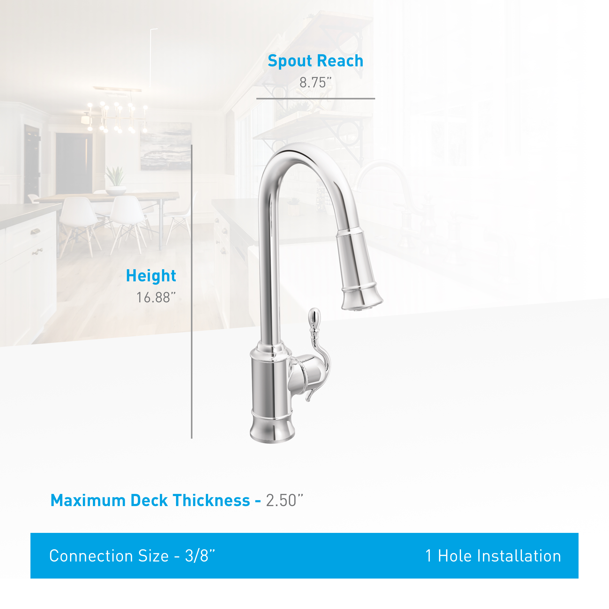 Moen 7615c Chrome Woodmere Pull Down Spray Kitchen Faucet