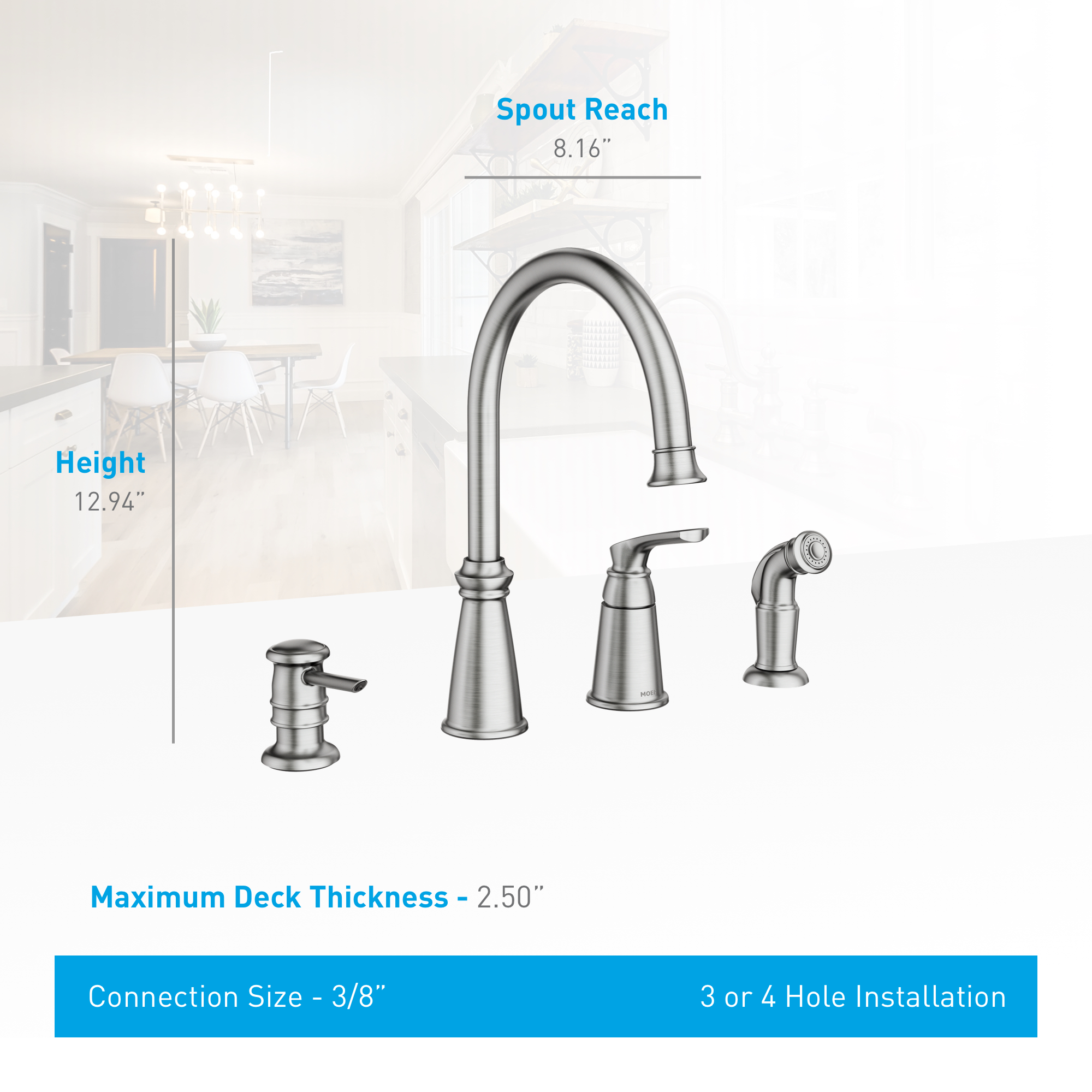 Moen 87044SRS Spot Resist Stainless Whitmore Single Handle High Arch ...