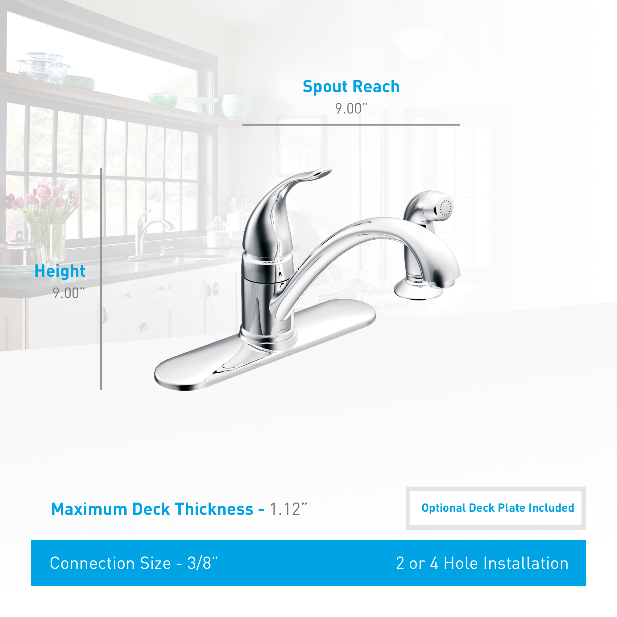 Moen CA87480SRS Spot Resist Stainless Kitchen Faucet with Side Spray ...
