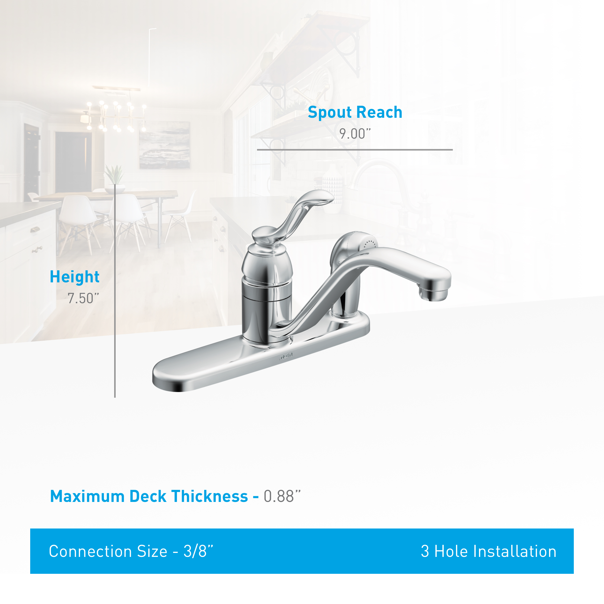 Moen Ca87527 Chrome Kitchen Faucet With Side Spray From