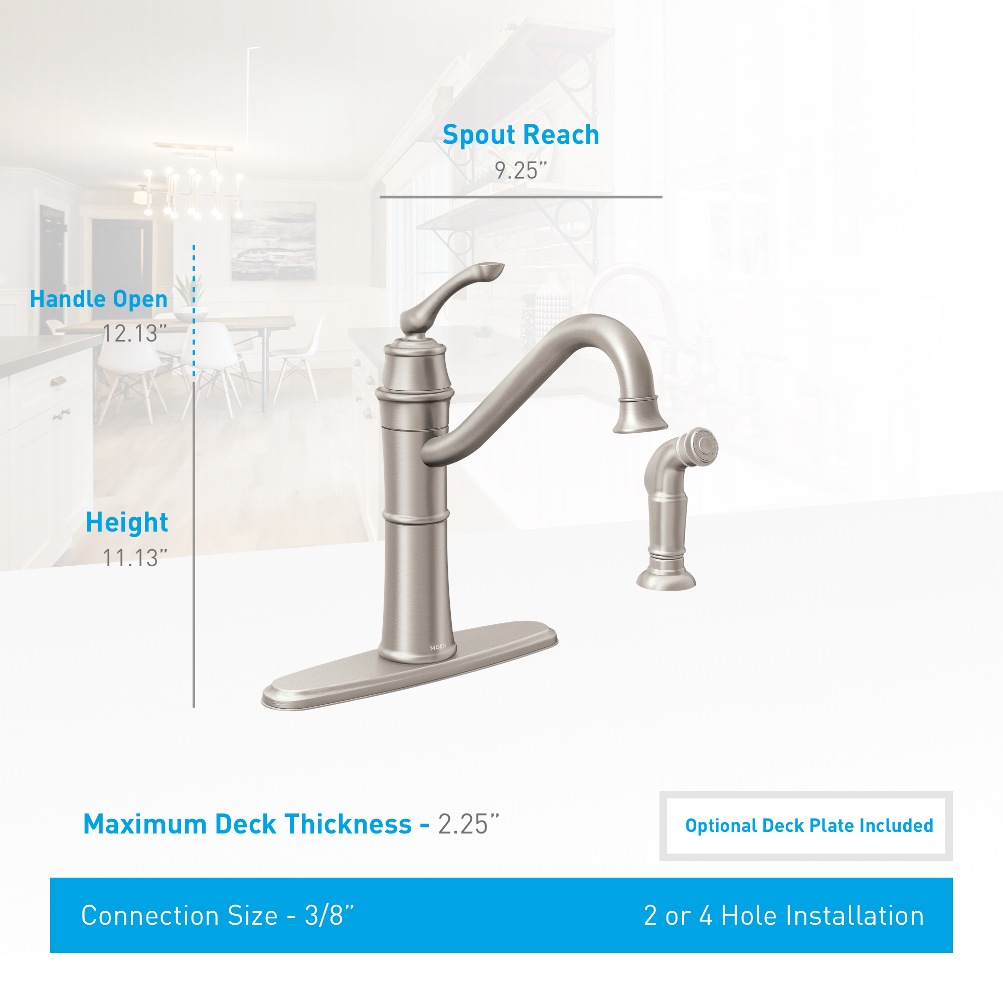 Moen 87999srs Spot Resist Stainless High Arc Kitchen Faucet With