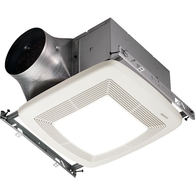Round Bathroom Fan Light Combination: Broan XB50L White 50 CFM 0.3 Sone Ceiling Mounted Energy