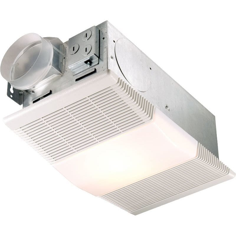 Nutone 665rp white 70 cfm 4 sone ceiling mounted hvi - Bathroom exhaust fan with thermostat ...